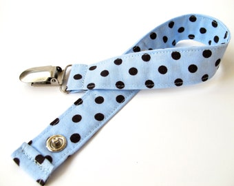 Blue and Brown Pacifier Clip - Soother Clip -  Michael Miller Dumb Dot Collection