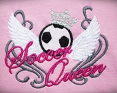 Soccer Queen simply and with curls grafiti on background - machine embroidery applique design - for hoop 4x4 and 5x7