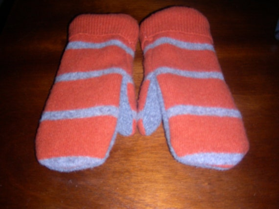 ORANGE Striped Felted Wool Mittens made from Recycled (Upcycled) Sweaters Fleece Lined Adult Medium-Large Men or Women