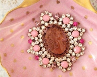 Large Cameo Rhinestone and Pot Metal Czech Brooch