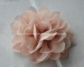 Khaki Chiffon Flower For Headwear Decor Fashion Costume 2 pcs