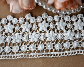 Cotton Emrbroideried Lace Flower Hollow out Lace Trim 2.5 Inches Wide 2 yards