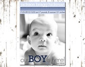 Dotted Baby Boy Birth Announcement