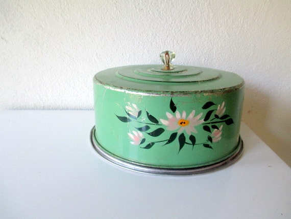 Green Vintage Cake Carrier, Cake Plate with Cover, Cottage Chic Shabby Mint Green with Daisy Pattern, Kitchen Storage Baking, Retro Desserts