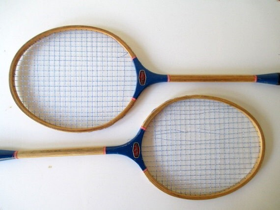 Vintage Badminton Racquets Set Of Two Blue By
