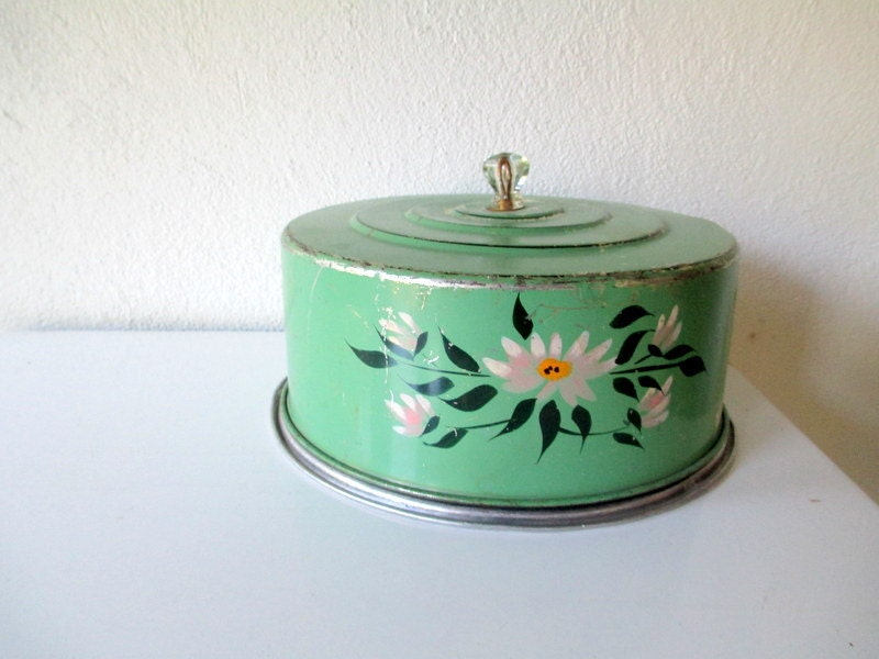 Green Vintage Cake Carrier Cake Plate With Cover Cottage