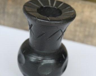 Black Wooden Vase, Carved Wooden Vase, Wooden Vase