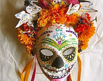 Día de los Muertos/ Day of the  Dead Mask Hand Painted