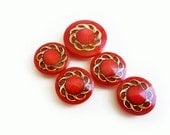 5 Vintage Buttons, Red & Gold Buttons - TheBlingBazaar