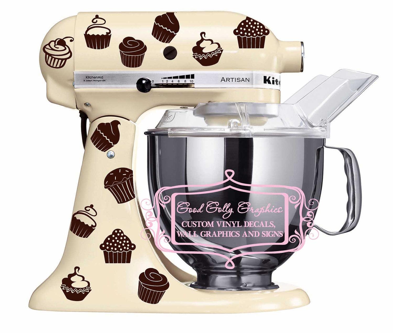 Kitchen Mixer Decals ~ Kitchen mixer vinyl decal set piece cupcake