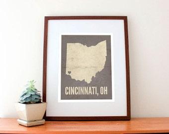 Cincinnati, Ohio, Love Map Art Print