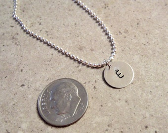 Custom Hand Stamped Small Initial Necklace