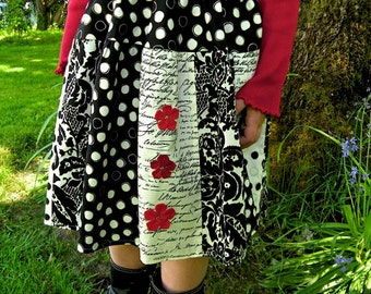 Girls skirt. Black and Ivory Damask and Polka Dots with Red Flowers REDUCED PRICE