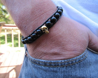 Men's Black and Gold Skull  Beaded Leather Wrap Bracelet