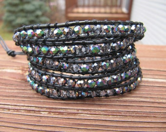 Silver Crystal AB Beaded 5 x Wrap Bracelet with Black Leather