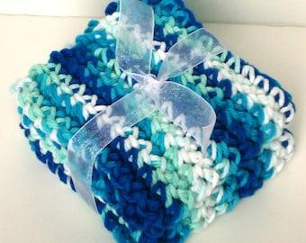 Crochet Washcloths Dishcloths - Set of 2 - For Kitchen, Bathroom, Baby - Blue, Light Blue, White - 100% Cotton