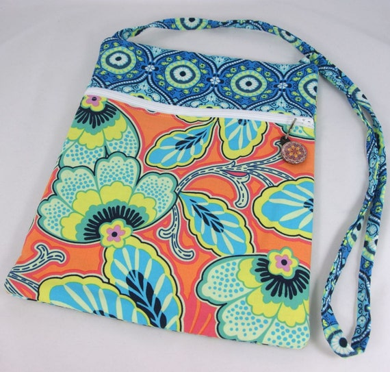 Hipster Bag, Cross Body Bag, Small Purse in Floral Orange, Bright Blue, and Green