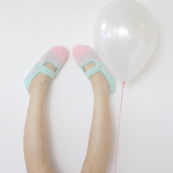 Last Pair SALE - Bubble Gum: Women's Crochet Mary Jane Slipper Socks