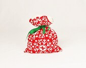 Fabric Gift Bag Itty Bitty - Red and White Snowflakes Joy by Kate Spain for Moda