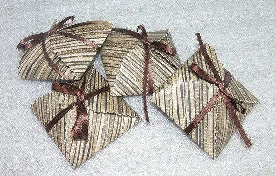 4 Small Brown and Black Upcycled Wallpaper Gift Boxes with Brown Ribbon