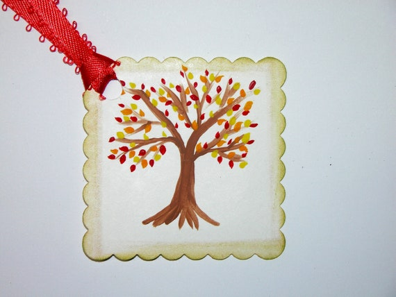 Set of 6 Hand Painted Autumn Fall Trees Blank Gift Tag with Orange Ribbon