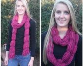 Hand Knit Elegant Berry Color Novelty Scarf