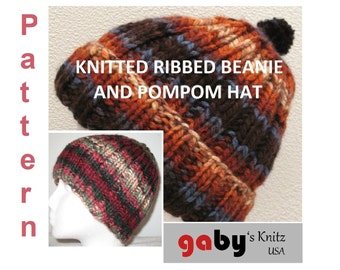 Pattern for Ribbed Beanie and Pompom Hat
