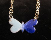 Silver and enamel butterfly necklace pendant in blue wth adjustable chain, ooak