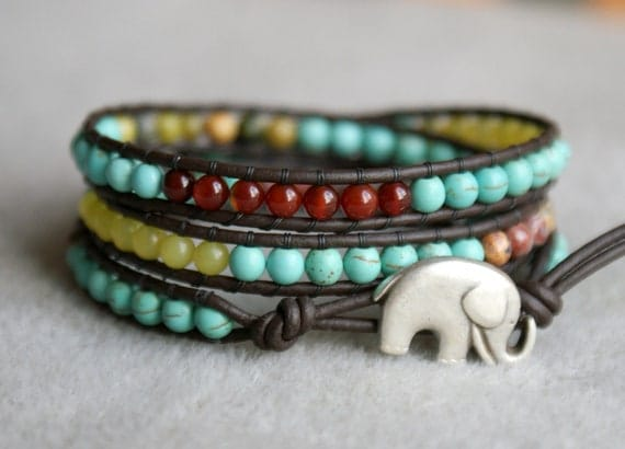 Multi stones elephant bohemian beaded leather wrap bracelet, Good Luck wrap, 3x Wrap bracelet, Chan Luu Style, Turquoise, tiget eye, jade