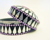 Jewelry Box Small Decorative Tin Rhinestones Two Piece Purple Black Silver  Stones and Beads
