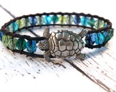 Boho Seaside Leather Wrap Bracelet with Blue Green Czech Beads and Sea Turtle Button/ Ocean Water/ Free Shipping