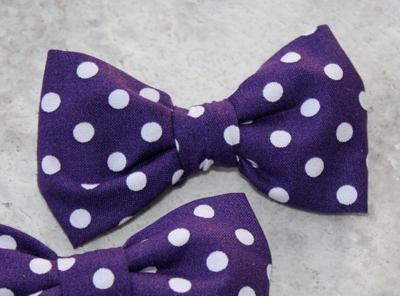 Grape Purple Polka Dot Bow Tie - clip on, pre-tied with adjustable strap or self tying