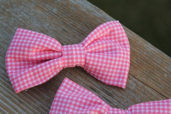 Bow Tie in Tiny Pink Gingham - clip on, pre-tied with strap or self tying