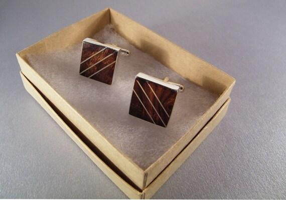 Wood Jewelry - Handmade Inlaid Desert Ironwood Cufflinks for Men or Women - Ready to Ship