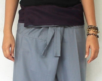 Purple  cotton on waist and gray cotton  Long   Thai  fisherman pants