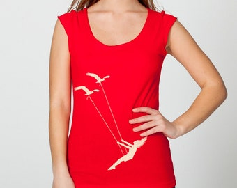 Womens flying bird swing- wide neck american apparel shirt with capped sleeves- red- available in S, M, L , XL WorldWide Shipping