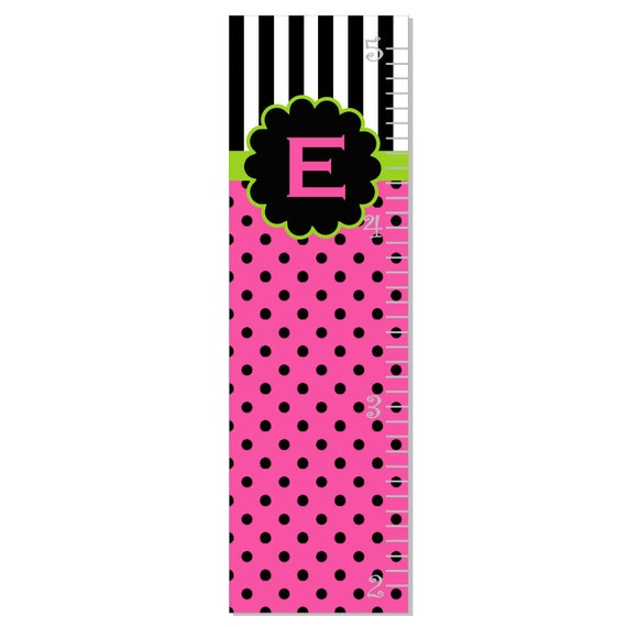 Growth Chart Children Canvas Growth Chart Polka Dot Stripes Personalized