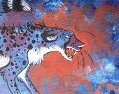 Angry Cheetah, Watercolor ACEO