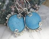 Turquoise Earrings Wire Wrapped Earrings Sterling Silver BlueTurquoise and Pearl Earrings