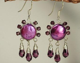 Purple Earrings Sterling Silver Swarovski Teardrop Earrings Gemstone Earrings.