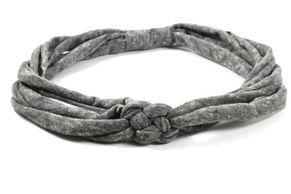 Gray Knotted Jersey Headband, T-Shirt Headband, Sailor's Knot Headband, Yoga Headband