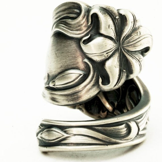 Spoon Ring Art Nouveau Rare Lily Sterling Silver Spoon Ring, Handmade to your size (2661)
