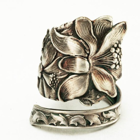 Spoon Ring Art Nouveau Trumpet Flower Sterling Silver, Handmade in Your Size (2725)