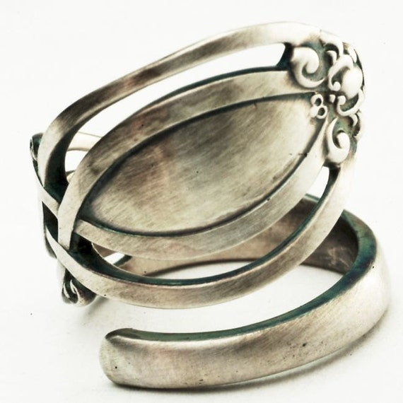 Vintage Victorian Pierced Sterling Silver Spoon Ring, Handmade in Your Size (2846)
