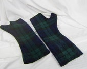 Winter Accessory-Fingerless Gloves-Fingerless Mittens-Texting Gloves-Tartan Emerald Green Navy Black-Toddlers and Children's- Ready to Ship