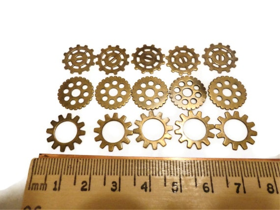 Steampunk Gears Cogs Wheels Discs Assemblage Altered Art Lot OX Brass Small 15mm- Qty 15