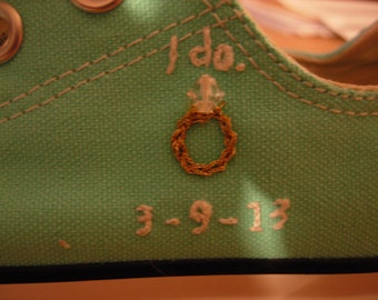 I Do. and Ring Hand Embroidered Converse CUSTOM