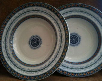 Vintage English Large and Heavy Soup Dishes Clover Pattern circa 1940-50's / English Shop