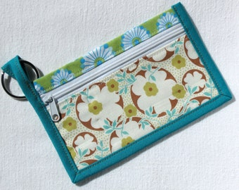 Aqua and charteuse floral wallet, coin purse or key chain