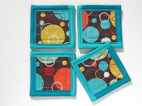 Fun polka dot fabric coaster set